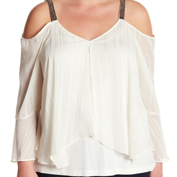 Saks Fifth Avenue Tops | Breathless Cream Plus Size Cold Shoulder ...